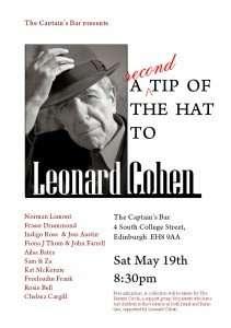 Poster for Leonard Cohen night