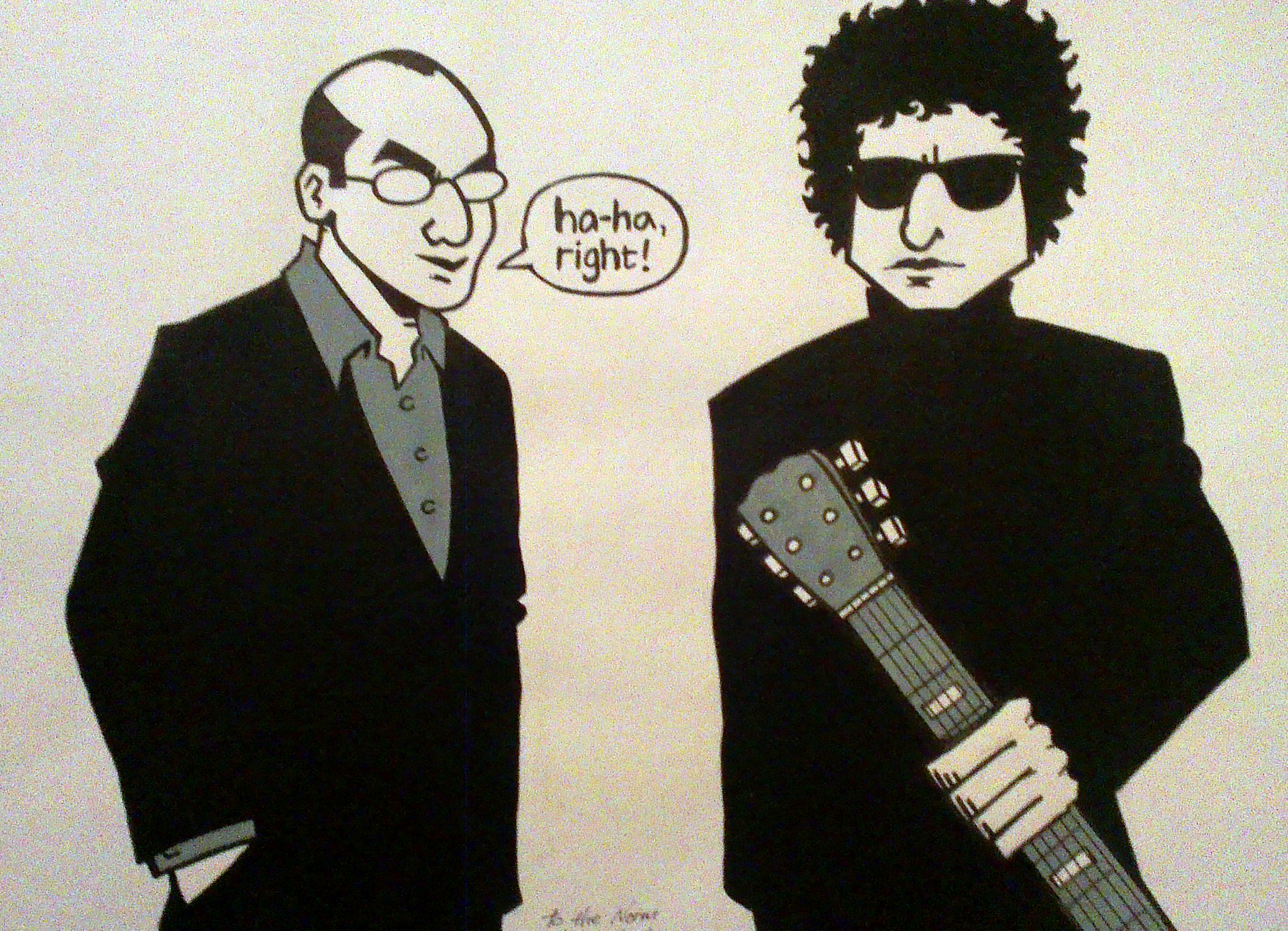 Painting of Norman Lamont and Bob Dylan