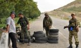 Soldiers at a roadblock