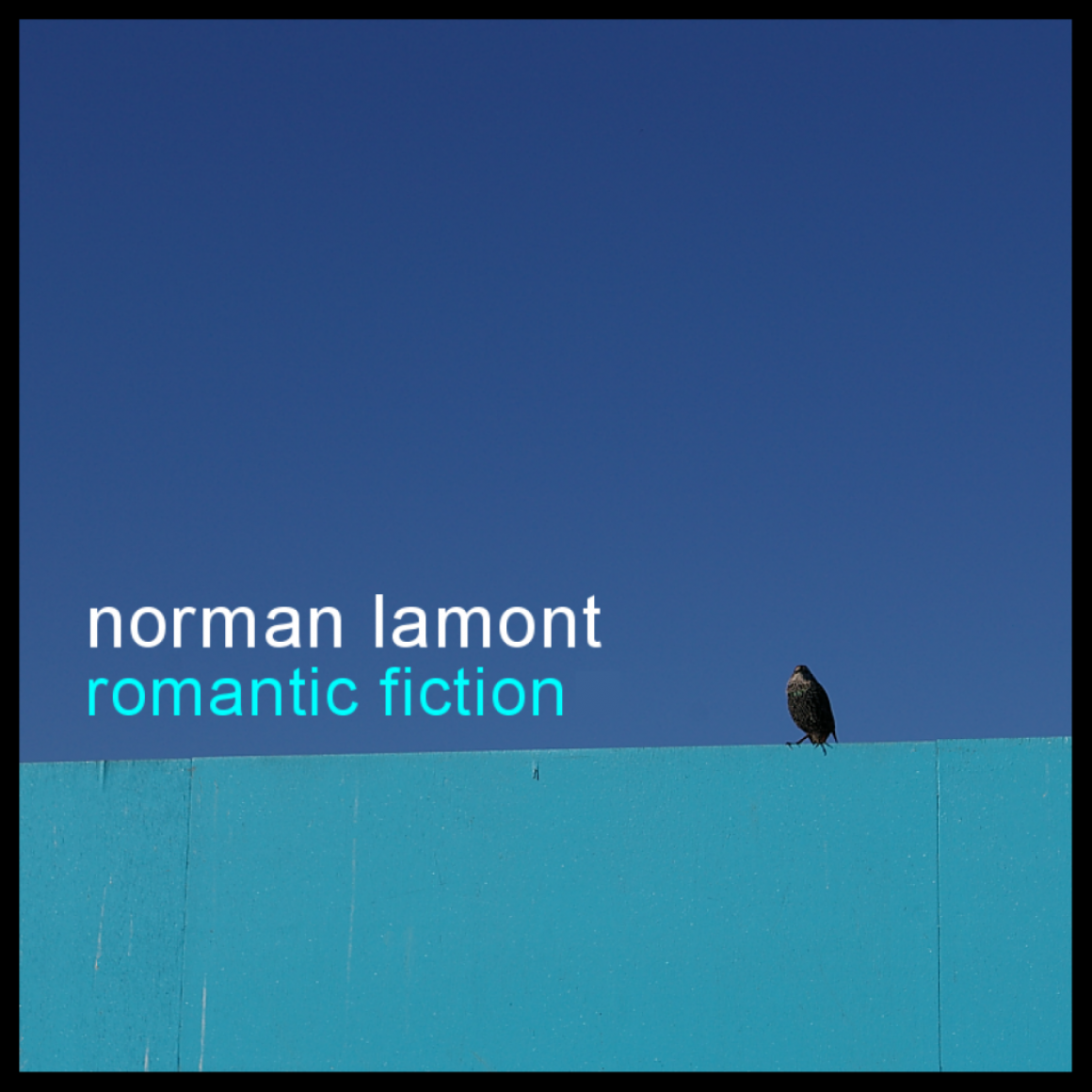 Romantic Fiction design - bird sitting on a blue fence under a darker blue sky